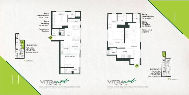 VITRA ART Apartamentos, la mejor inversión en Bogotá.:  de estilo  por Proyectamos y Edificamos