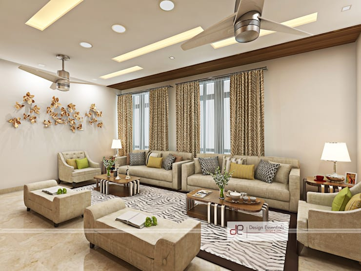 Villa at Jay Pee Greens Greater Noida : modern Living room by Design Essentials