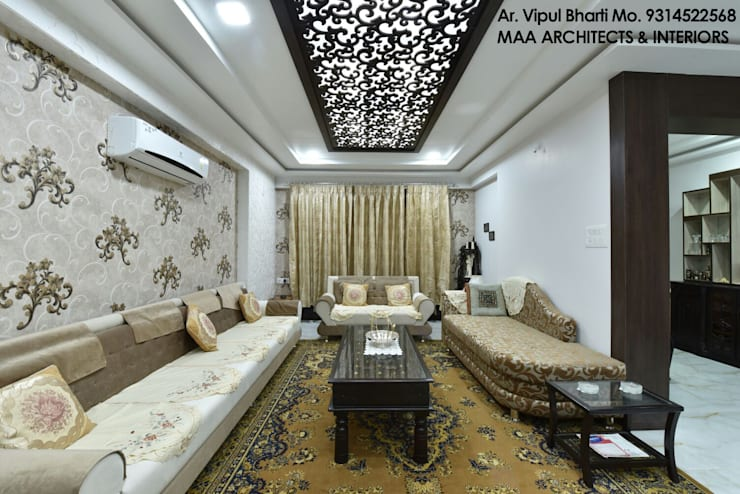 M.M Mehta Ji :  Living room by MAA ARCHITECTS & INTERIOR DESIGNERS
