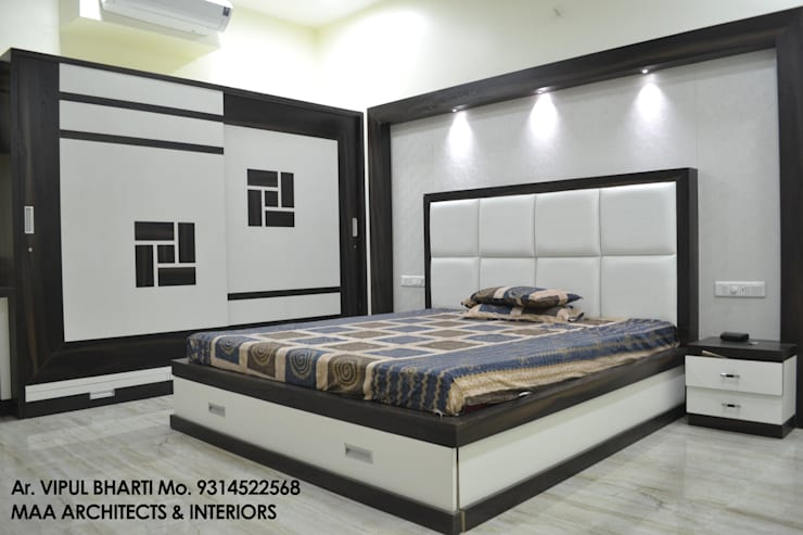 Prem Chelani ji: modern Bedroom by MAA ARCHITECTS & INTERIOR DESIGNERS