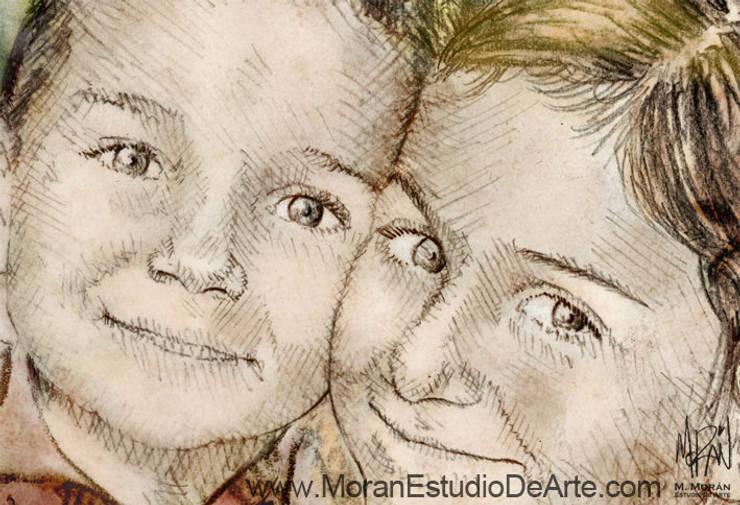 El brillo de sus ojos en el retrato familiar será un gran motivo.: Arte de estilo  por MORAN Estudio De Arte
