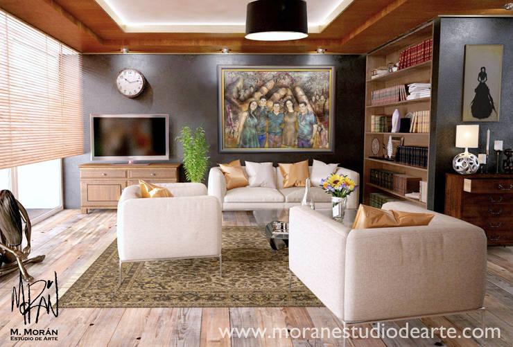 La alegría de la familia hará de tu sala un lugar memorable.: Arte de estilo  por MORAN Estudio De Arte