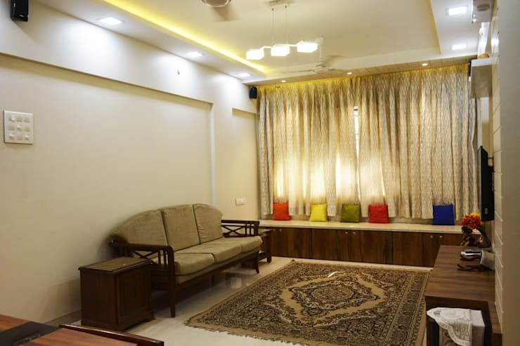 Sitting area:  Living room by Vinayak Interior | Interior Designing and Decorator Companies