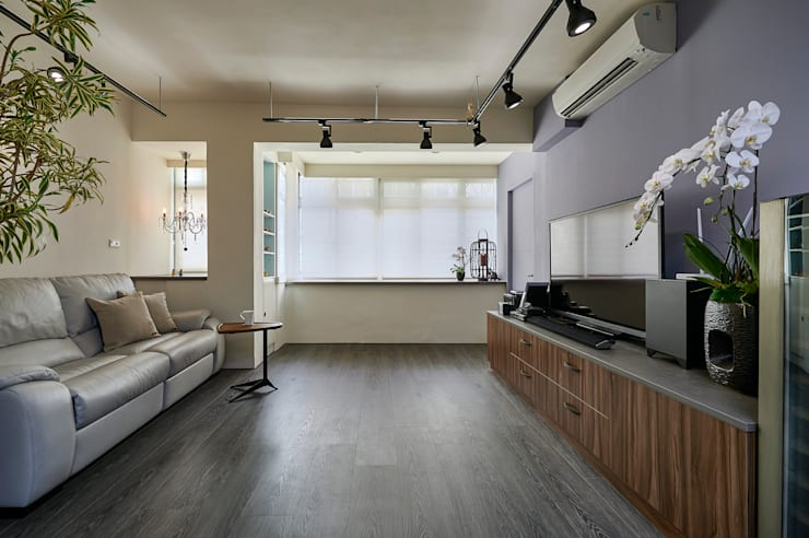 現代風設計個案:  客廳 by 精洲室內裝潢工程有限公司