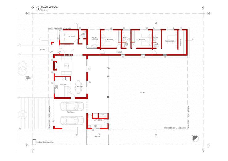 Vivienda 118. Barrio Alma Verde: Casas de estilo  por Estudio de Arquitectura Lucía Farías