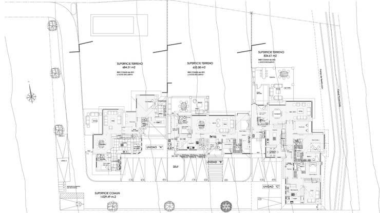 Plano Conjunto: Casas de estilo  por Carvallo & Asociados Arquitectos