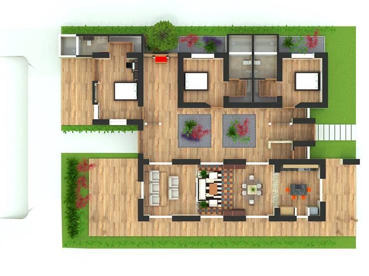 CASA CAMPESTRE PIEDECUESTA: Habitaciones de estilo ecléctico por Grupo Inovarq