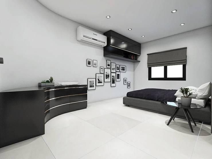 งานออกแบบเฟอร์บิวอิน ห้องนอนและ Walk in closet:   by SRANG