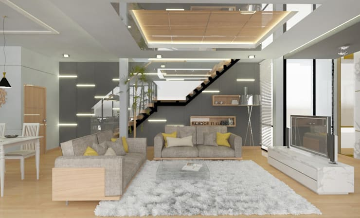 ออกแบบตกแต่งภายใน บ้าน MODERN LUXURY:  ห้องนั่งเล่น by Studio Ma_room decrorate and design