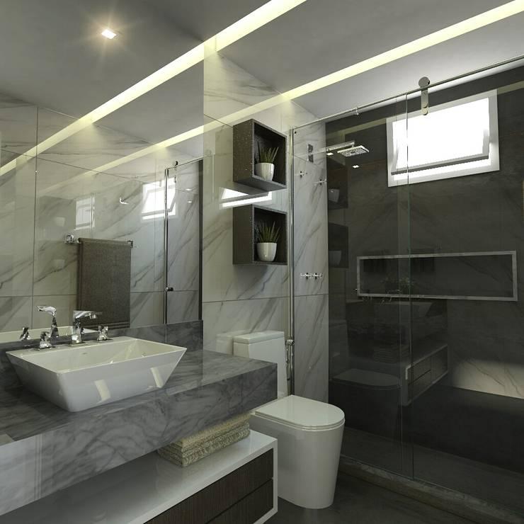 Sanitário suíte: Banheiros  por Ayslan Porfirio Arquitetura