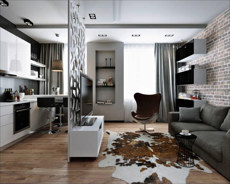 33 квадрата: Гостиная в . Автор – Дизайнер Светлана Юркова