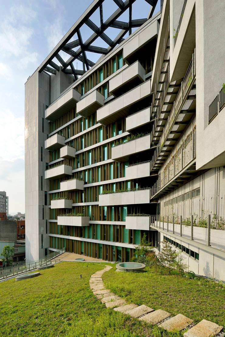 斜屋頂覆土綠化。:  庭院 by 綠野國際建築師事務所