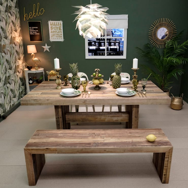 Rustic Tropical Dining Room :  Dining room by Little Mill House