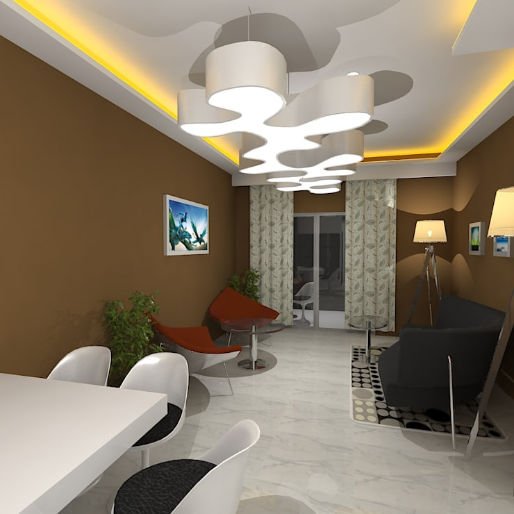Palacio 1BHK :  Living room by Gurooji Designs