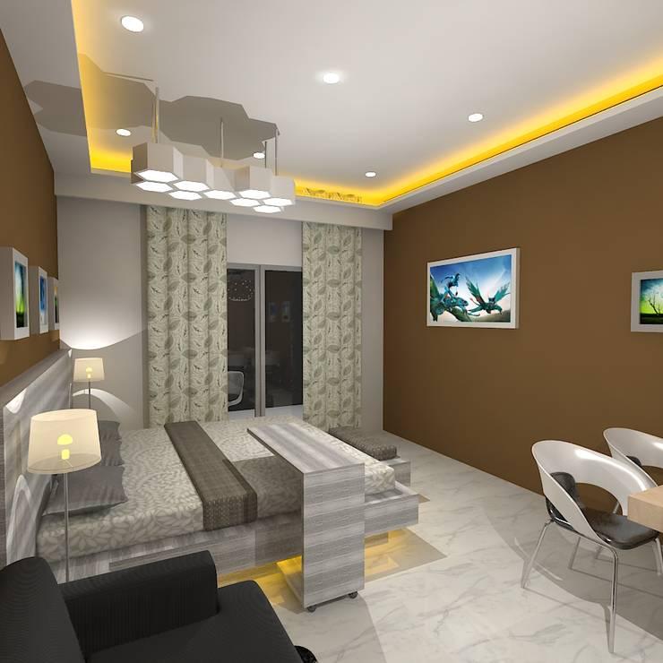 Palacio Studio Apartment :  Bedroom by Gurooji Design
