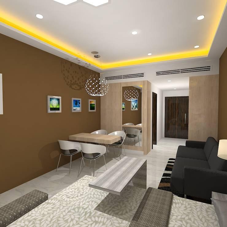 Palacio Studio Apartment :  Living room by Gurooji Design