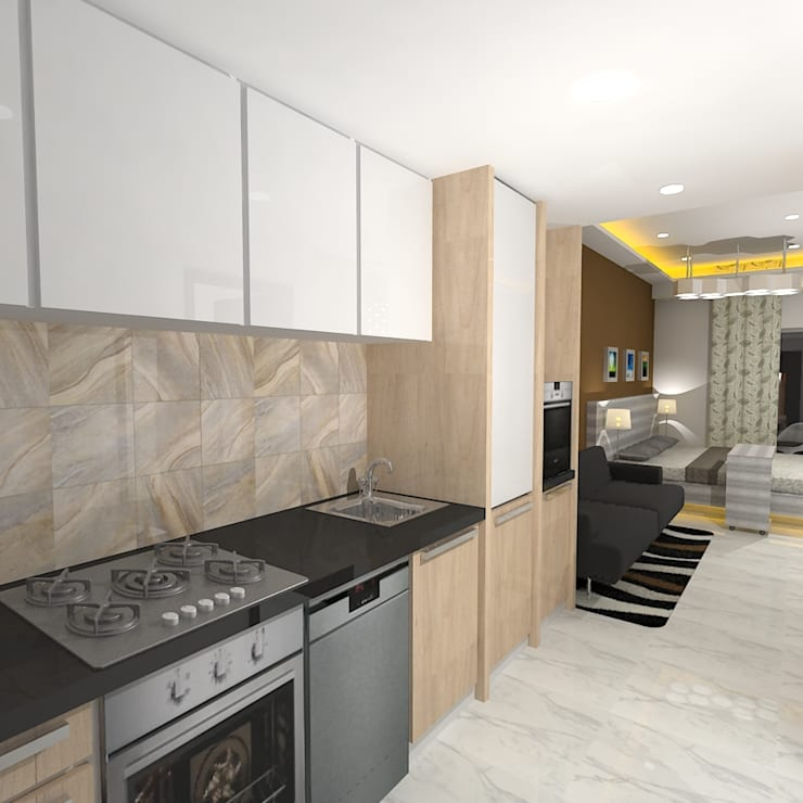 Palacio Studio Apartment :  Kitchen by Gurooji Design