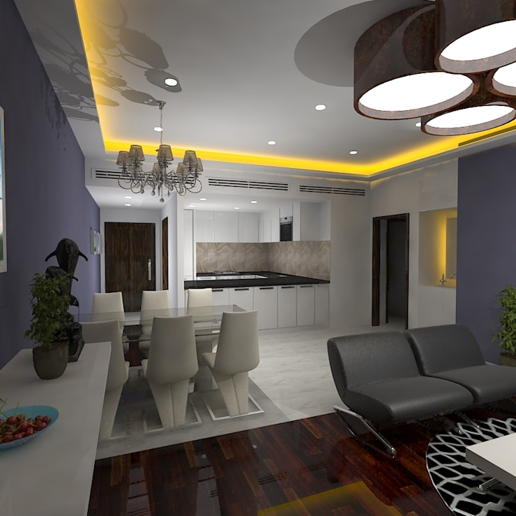 Palacio 2BHK:  Living room by Gurooji Design