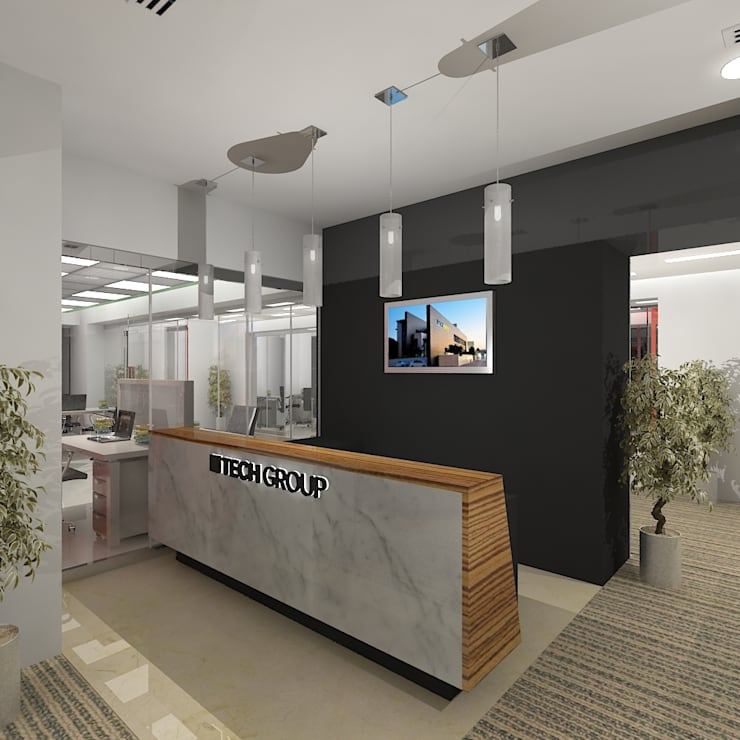 Tech Group Reception:  Offices & stores by Gurooji Design