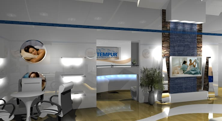 Tempur Showroom:  Commercial Spaces by Gurooji Design