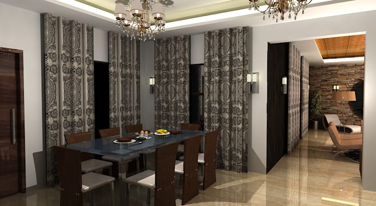 Shakib Villa Interior:  Dining room by Gurooji Designs,Classic