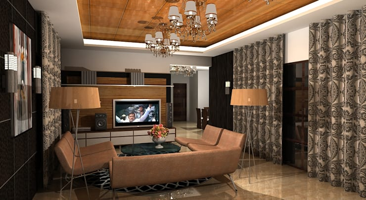 Shakib Villa Interior:  Living room by Gurooji Designs,Classic