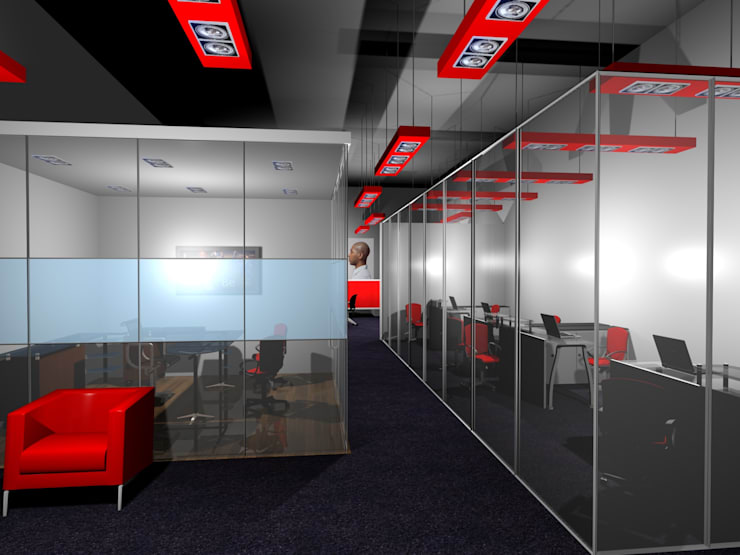 Thin Red Line—Office:  Offices & stores by Gurooji Designs