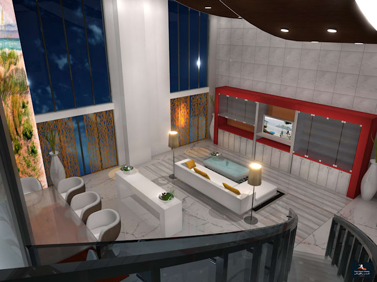 Loft Apartment:  Living room by Gurooji Design