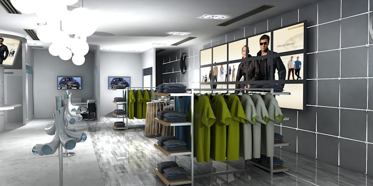 Merc. Merchandise Showroom by Gurooji Designs Modern