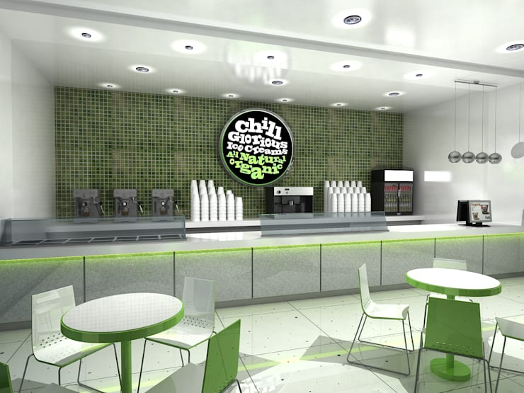 Chill Glorious Ice Cream shop:  Commercial Spaces by Gurooji Designs,Modern