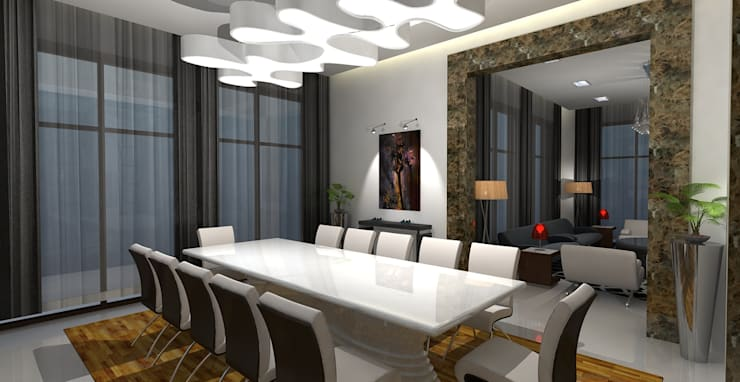 Barari Villa:  Dining room by Gurooji Designs