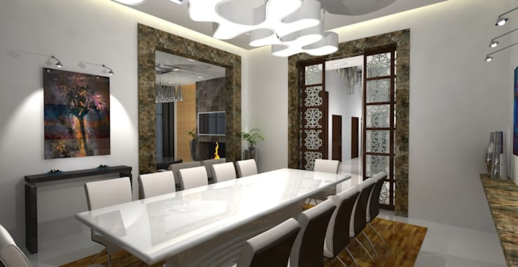 Barari Villa:  Dining room by Gurooji Design