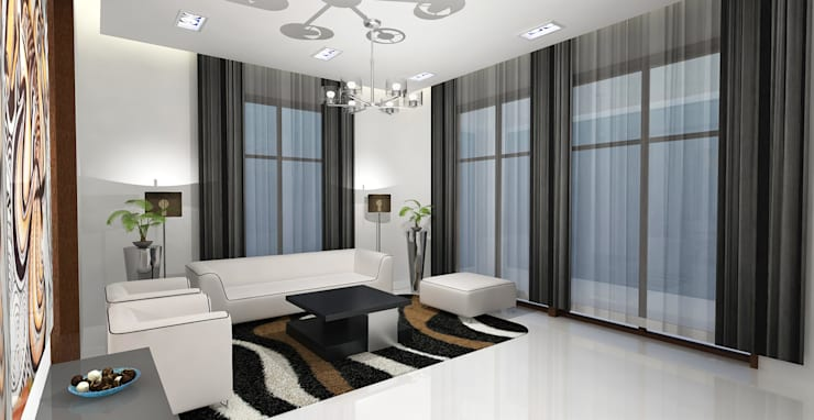 Barari Villa:  Living room by Rapchik Designs