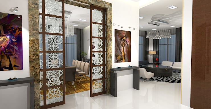 Barari Villa:  Corridor & hallway by Gurooji Design