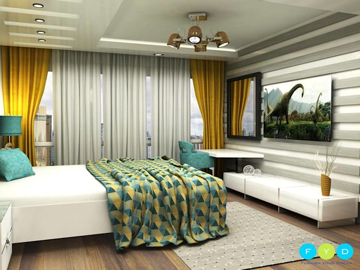 Punches of color keep a room feeling youthful and engaging.:  Bedroom by FYD Interiors Pvt. Ltd