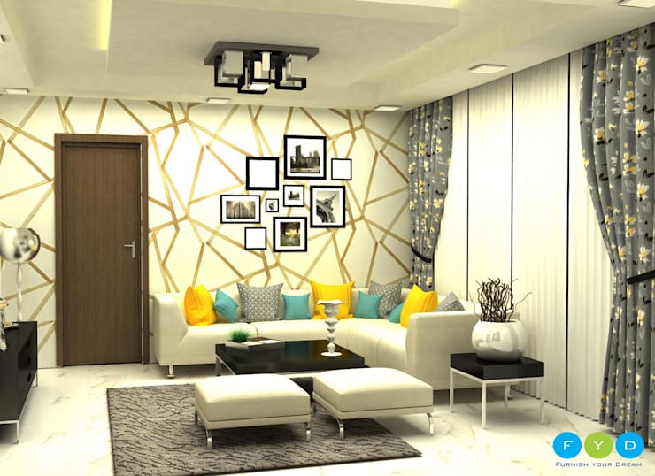 Punches of color keep a room feeling youthful and engaging.:  Living room by FYD Interiors Pvt. Ltd
