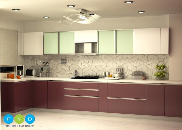 """Life should be chic, glamorous and colorful - and so should your home."" :  Kitchen by FYD Interiors Pvt. Ltd,Modern"