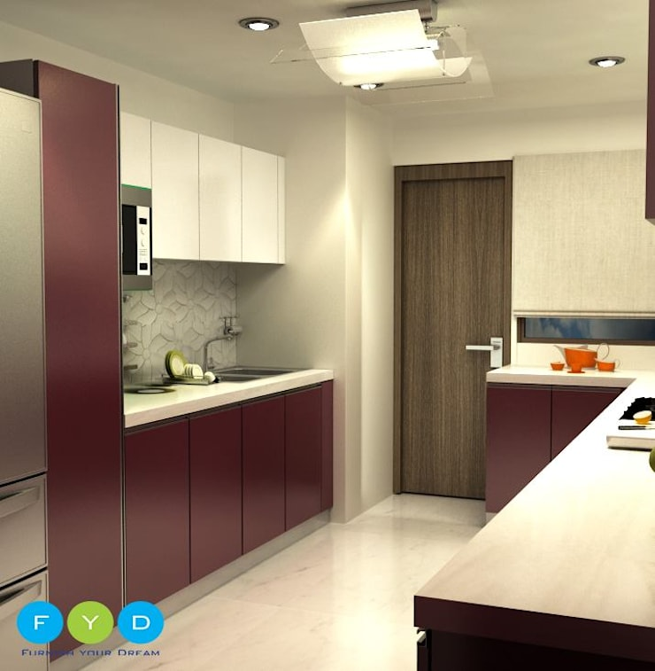 "<q class=""-first"">Life should be chic, glamorous and colorful—and so should your home.</q> :  Kitchen by FYD Interiors Pvt. Ltd,Modern"