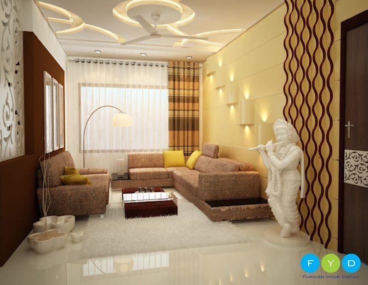 Be faithful to your own taste because nothing you really like is ever out of style.:  Living room by FYD Interiors Pvt. Ltd