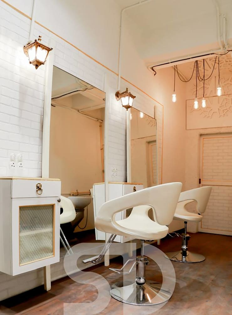 The Hair  Lounge:  Commercial Spaces by SUMEDHRUVI DESIGN STUDIO