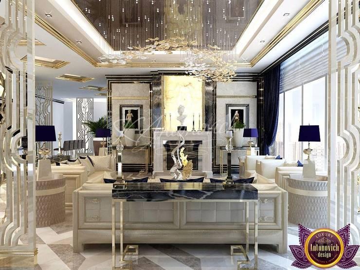   Penthouse design Dubai by Katrina Antonovich:  Living room by Luxury Antonovich Design, Modern