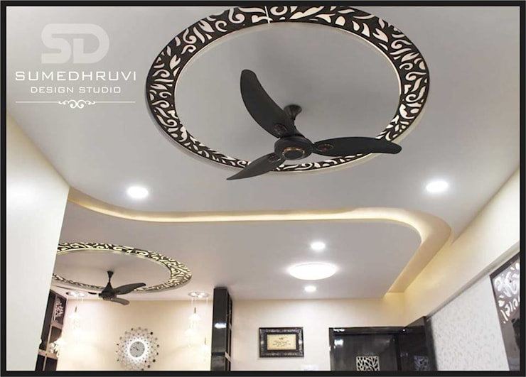 False Ceiling : modern Living room by SUMEDHRUVI DESIGN STUDIO
