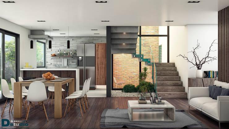 Vista interor: Salas de estilo  por D+STUDIO ARQUITECTURA*INTERIOR