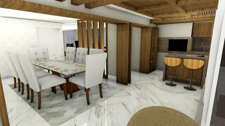 Sala de Jantar integrada ao espaço gourmet externo: Salas de jantar modernas por Studio²