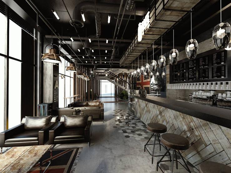 [Café ]  180평 패셔너블리한 공간 - 인더스트리얼 인테리어디자인: 디자인 이업의  거실,