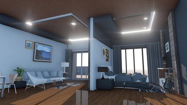 CONDO  HOTEL  TWOBEDROOM:  ตกแต่งภายใน by SABPAROD STUDIO