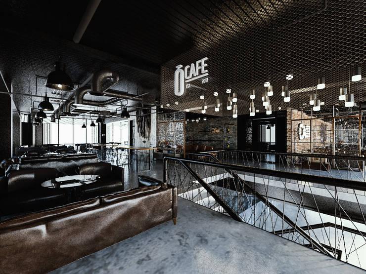 [Café ]  180평 패셔너블리한 공간 – 인더스트리얼 인테리어디자인: 디자인 이업의  거실,