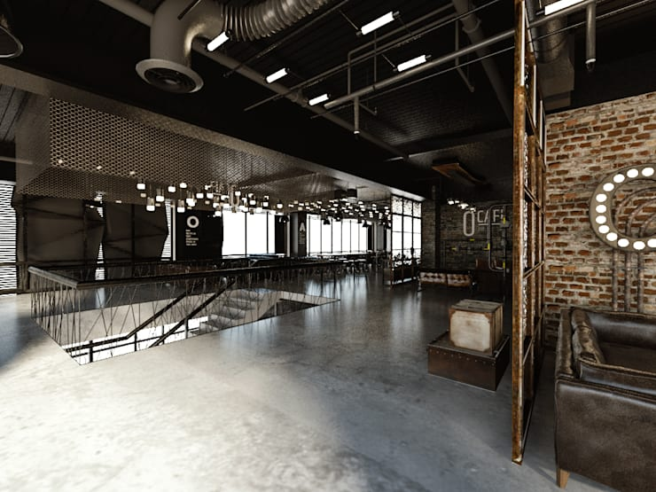 [Café ]  180평 패셔너블리한 공간 – 인더스트리얼 인테리어디자인: 디자인 이업의  거실