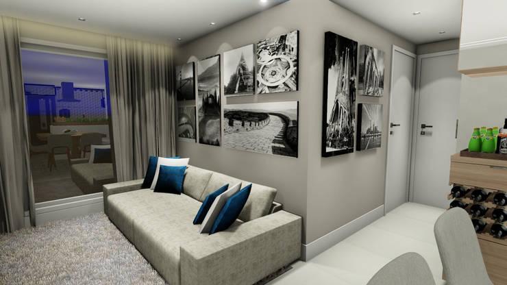 Apartamento compacto para jovem casal moderno: Salas de estar  por Studio²