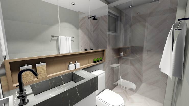 Apartamento compacto para jovem casal moderno: Banheiros  por Studio²